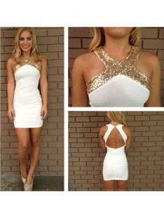 A-Line Halter Beading Satin Short/Mini Dress