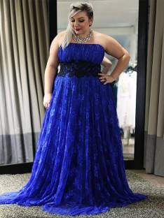 A-Line Strapless Lace Applique Long Plus Size Dress