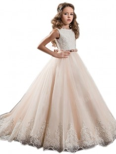 Ball Gown Jewel Lace Floor-Length Tulle Flower Girl Dress