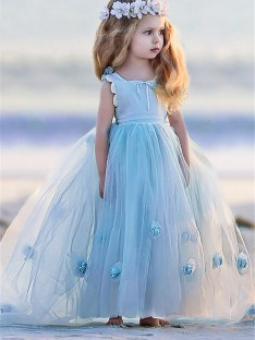Ball Gown Bateau Floor-Length Tulle Flower Girl Dress