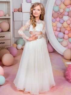 A-Line/Princess Jewel Lace Chiffon Floor-Length Flower Girl Dress