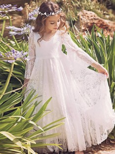A-Line/Princess V-neck Lace Floor-Length Flower Girl Dress