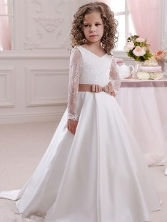 Ball Gown V-neck Lace Floor-Length Satin Flower Girl Dress