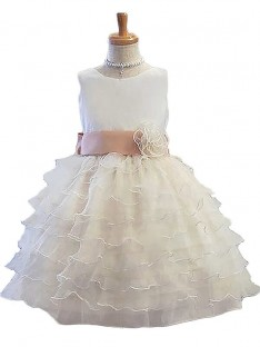 A-Line/Princess Jewel Tulle Short/Mini Flower Girl Dress