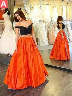 A-Line/Princess Off-the-Shoulder Taffeta Floor-Length Two Piece Dress