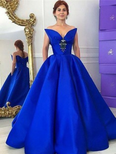 Ball Gown V-neck Floor-Length Satin Dress