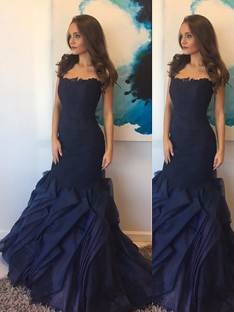 Trumpet/Mermaid Strapless Taffeta Lace Floor-Length Dress