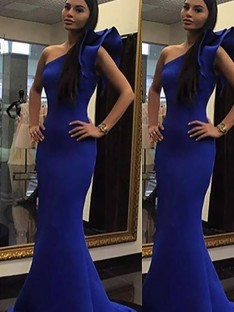 Trumpet/Mermaid One-Shoulder Sweep/Brush Train Satin Dress