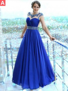 A-Line/Princess Bateau Floor-Length Chiffon Dress
