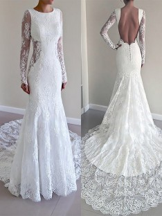 Trumpet/Mermaid Scoop Court Train Lace Wedding Dress