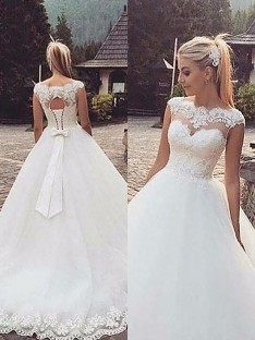 2318a41b78 Ball Gown Bateau Lace Tulle Court Train Wedding Dress