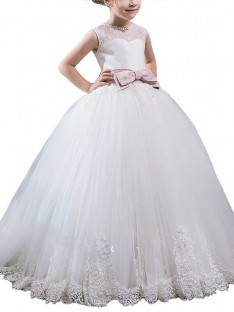 Ball Gown Scoop Floor-Length Tulle Flower Girl Dress