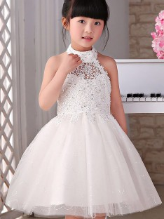 A-line/Princess Halter Tulle Knee-Length Flower Girl Dress