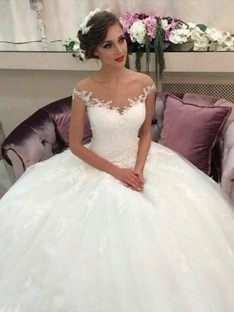 Ball Gown Off-the-Shoulder Court Train Tulle Wedding Dress