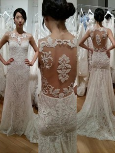 Trumpet/Mermaid Lace Scoop Sweep/Brush Train Wedding Dress