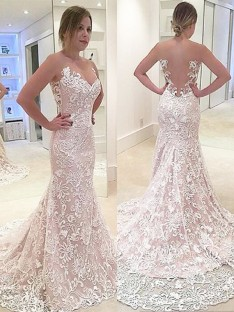 Trumpet/Mermaid Lace Sweetheart Sweep/Brush Train Wedding Dress
