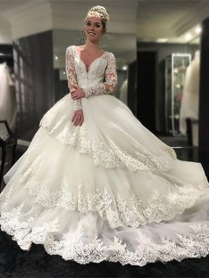 Ball Gown V-neck Lace Tulle Court Train Wedding Dress