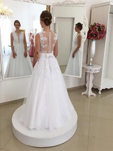 Trumpet/Mermaid Lace Scoop Floor-Length Wedding Dress