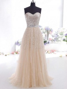 A-Line Sweetheart Tulle Floor-Length Dress