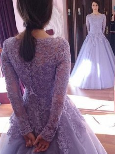 Ball Gown Jewel Long Sleeves Floor-Length Tulle Dress