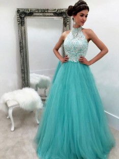 A-Line Halter Floor-Length Tulle Dress