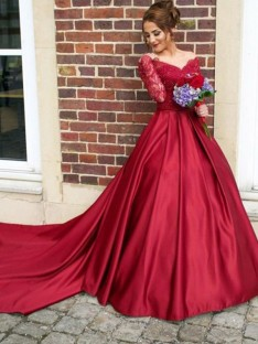 A-Line V-neck Long Sleeves Sweep/Brush Train Lace Satin Dress