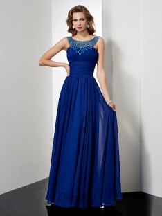 Empire High Neck Chiffon Floor-length Dress
