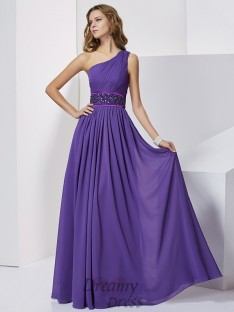 Empire One-Shoulder Floor-Length Chiffon Dress