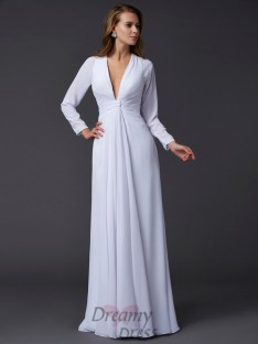 Long Sleeves V-neck Ruched Floor-Length Chiffon Dress