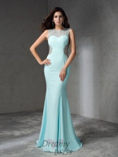 Mermaid Jewel Sweep/Brush Train Chiffon Dress
