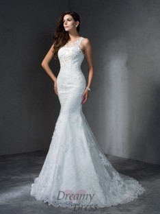 Mermaid Scoop Court Train Lace Wedding Dress