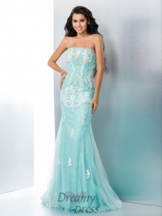 Mermaid Strapless Lace Long Dress