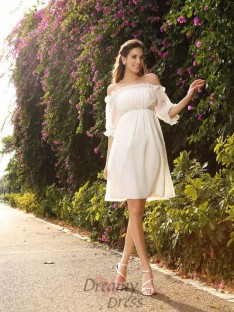 Off-the-Shoulder Chiffon 1/2 Sleeves Knee-Length Wedding Dress