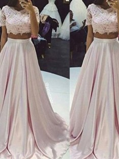 A-Line/Princess Sleeveless Scoop Floor-Length Lace Taffeta Two Piece Dresses