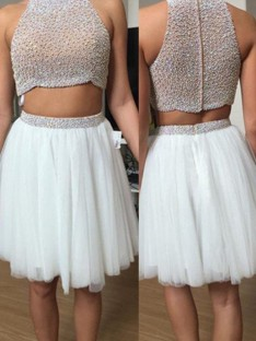 A-Line/Princess Sleeveless High Neck Tulle Short/Mini Two Piece Dresses
