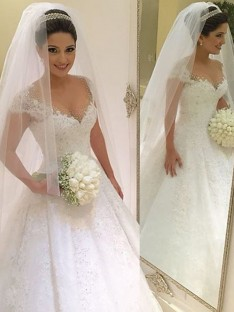 Ball Gown Sleeveless V-neck Floor-Length Tulle Wedding Dress