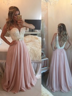 A-Line/Princess Sweetheart Sleeveless Pearls Floor-Length Chiffon Dresses