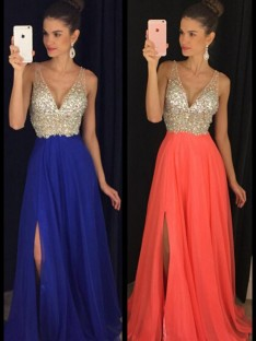 A-Line/Princess V-neck Sleeveless Floor-Length Chiffon Dresses