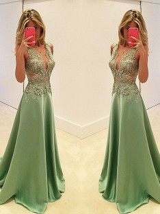 A-Line/Princess V-neck Floor-Length Sleeveless Satin Dresses