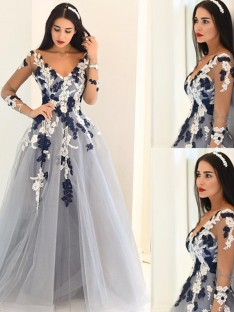 A-Line/Princess V-Neck Long Sleeves Tulle Sweep/Brush Train Dresses