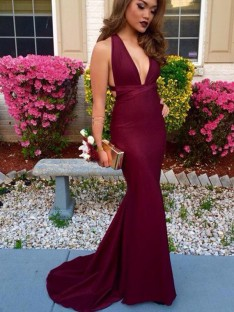 Trumpet/Mermaid V-Neck Sleeveless Sweep/Brush Train Satin Dresses