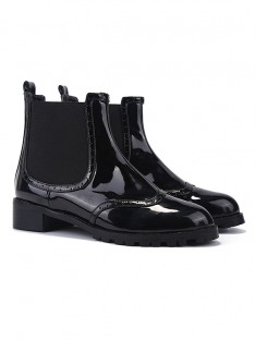 Women's Closed Toe Patent Leather Kitten Heel Boots