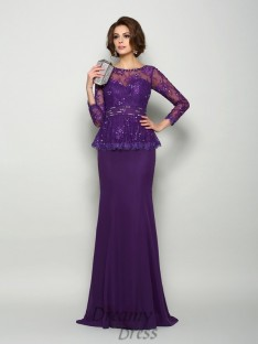Scoop Long Sleeves Chiffon Long Mother of the Bride Dress