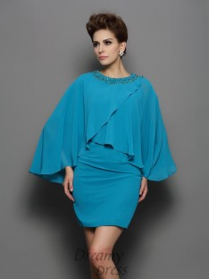 Scoop Long Sleeves Silk like Satin Short/Mini Dress