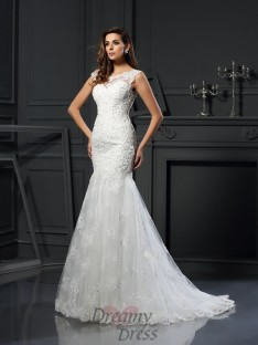 Scoop Short Sleeves Tulle Chapel Train Wedding Dress