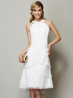 Sheath/Column Bateau Knee-Length Chiffon Dress