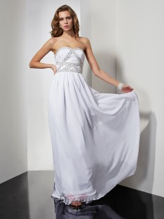 Sheath/Column Chiffon Strapless Sweetheart Floor-Length Dress