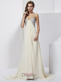 Sheath/Column Chiffon Sweetheart Sweep/Brush Train Dress