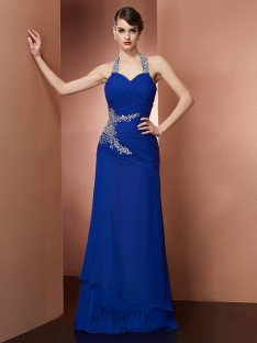 Sheath/Column Halter Chiffon Floor-Length Dress