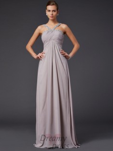 Sheath/Column Halter Sweep/Brush Train Chiffon Dress